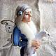 """Коллекционные куклы ручной работы. Ярмарка Мастеров - ручная работа. Купить кукла-эльф """"Зимняя бабочка"""". Handmade. Голубой"""