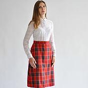 Одежда handmade. Livemaster - original item A-line skirt in plaid red. Handmade.