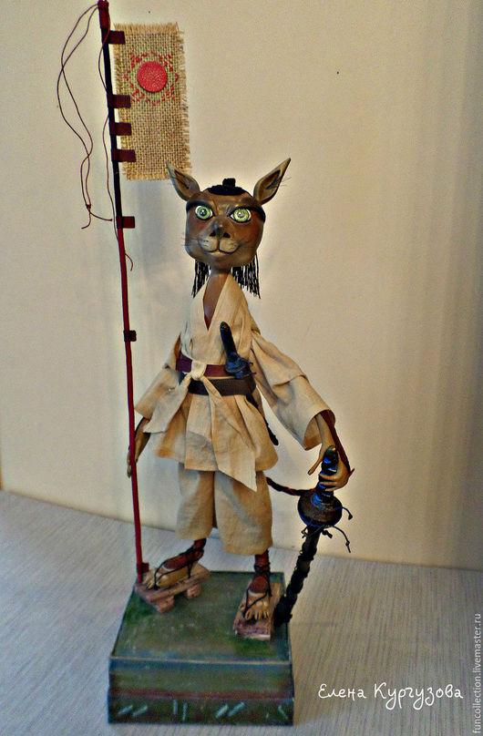 Куклы и игрушки ручной работы. Ярмарка Мастеров - ручная работа. Купить Кот - самурай из династии Минамото.. Handmade. Кот, япония