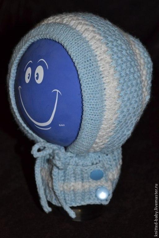 Для новорожденных, ручной работы. Ярмарка Мастеров - ручная работа. Купить Шапочка - чепчик с воротничком. Handmade. Вязанная шапочка