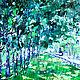 Картина на день рождение свадьбу юбилей Картина яркая в подарок Летний пейзаж картина Зеленый голубой синий белый