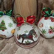 """Подарки к праздникам ручной работы. Ярмарка Мастеров - ручная работа """"Пряничные лошадки"""" набор елочных шаров. Handmade."""