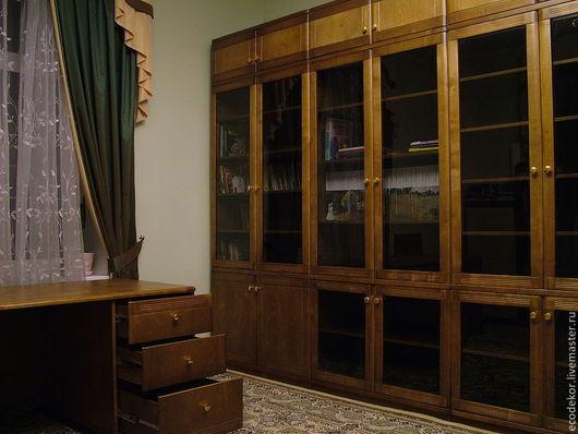 Мебель ручной работы. Ярмарка Мастеров - ручная работа. Купить кабинет. Handmade. Коричневый, книжный шкаф, антресоли, шпон березы