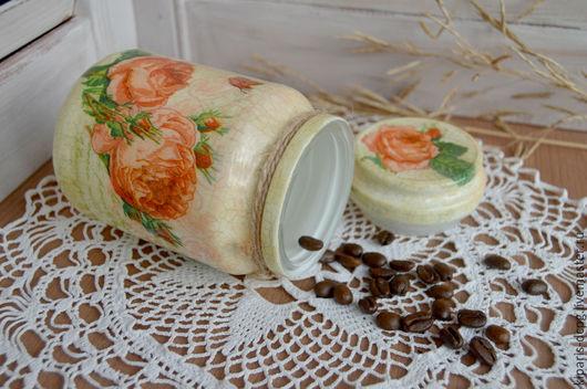 Декоративная посуда ручной работы. Ярмарка Мастеров - ручная работа. Купить Баночка для кофе, чая, стеклянная, декупаж.. Handmade. Оранжевый