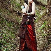 Одежда handmade. Livemaster - original item Long Red Silk Ethnic Skirt. Handmade.