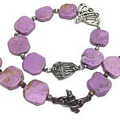 Украшения handmade. Livemaster - original item Orchid Color bracelet. Natural phosphosiderite, Anna Black fittings. Handmade.
