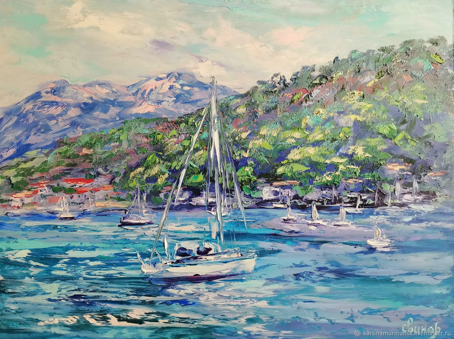 Oil painting sailing boats mountains ' Paradise place', Pictures, Murmansk,  Фото №1