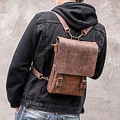 Сумки и аксессуары handmade. Livemaster - original item Leather Backpack Bag, Vintage Backpack, Shoulder Bag. Handmade.