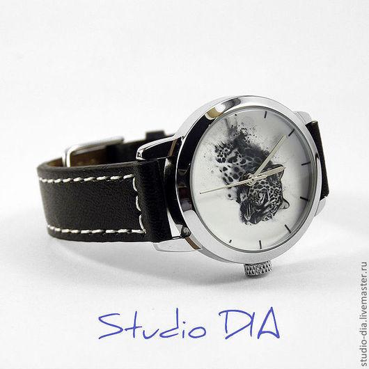 Часы. Наручные Часы. Оригинальные Дизайнерские Часы Снежный Леопард. Студия Дизайнерских Часов и Кулонов DIA.