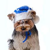 """Для домашних животных, ручной работы. Ярмарка Мастеров - ручная работа Вязаная шапка для собаки """"Снежинка"""". Handmade."""