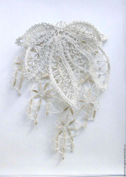 Брошь ручной работы, ярмарка Мастеров - ручная работа,украшение на платье  двухслойное  кружевное, коклюшечное кружево, плетеное кружево, белый, Настоящее русское кружево  (MadamKrugevo), handmade