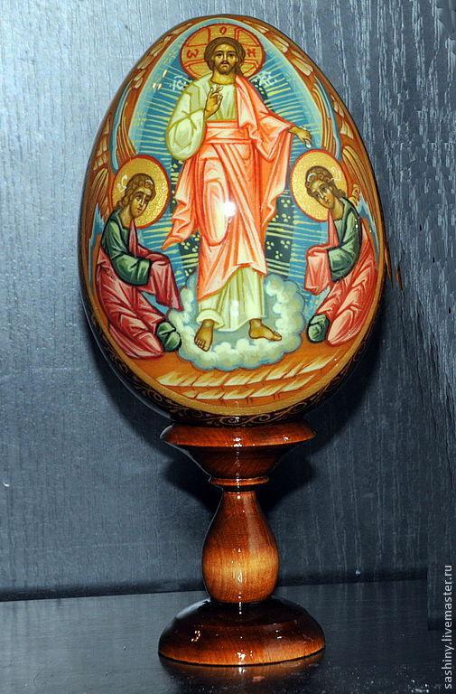 Яйца ручной работы. Ярмарка Мастеров - ручная работа. Купить Пасхальное яйцо Воскресение Христово ручная роспись. Handmade. Спаситель