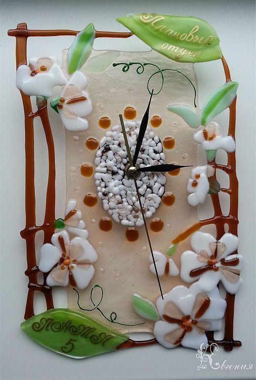 """Часы для дома ручной работы. Ярмарка Мастеров - ручная работа. Купить Часы """" Жасмин"""". Handmade. Фьюзинг, авторскиечасы"""