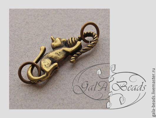 Для украшений ручной работы. Ярмарка Мастеров - ручная работа. Купить Застёжка - крючок S-образная латунная бронза котёнок. Handmade.