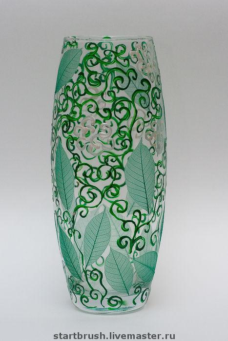 """Вазы ручной работы. Ярмарка Мастеров - ручная работа. Купить Роспись вазы. """"Зеленые листья"""". Handmade. Ваза, предмет интерьера"""
