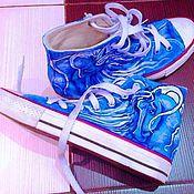 """Обувь ручной работы. Ярмарка Мастеров - ручная работа Кеды высокие Converse """"Лошадь лунная"""". Handmade."""