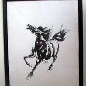 Картины и панно ручной работы. Ярмарка Мастеров - ручная работа картина лошадь Свобода суми-е. Handmade.