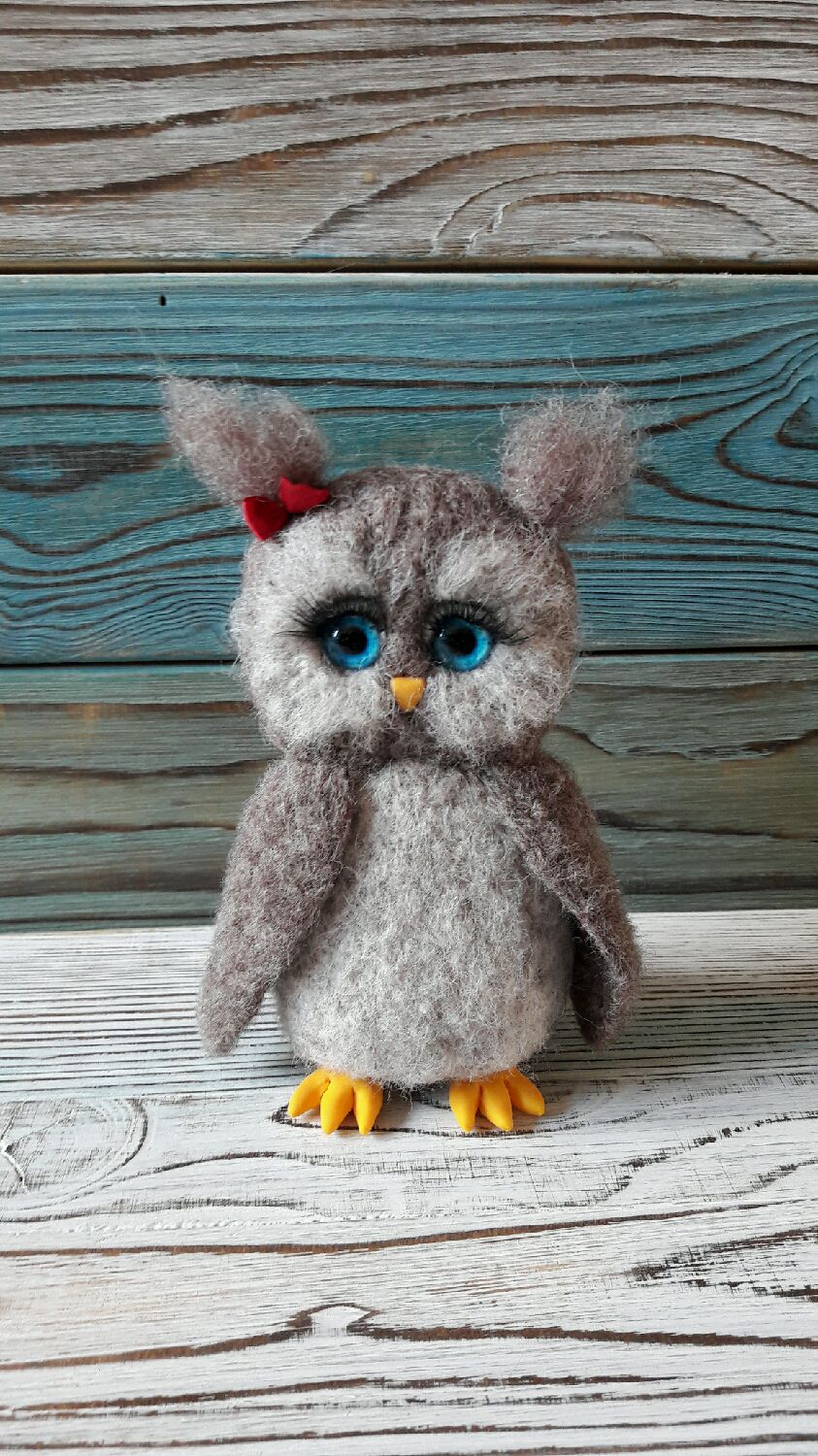 Blue-eyed owl toy from wool, Felted Toy, Moscow,  Фото №1