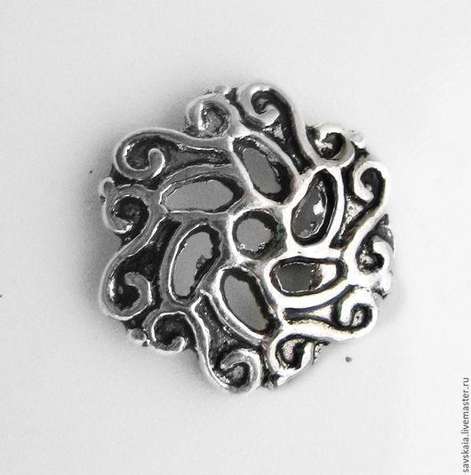 Шапочки для бусин цветок 13 mm, Античное серебро Подходит для бусин 18-21 mm