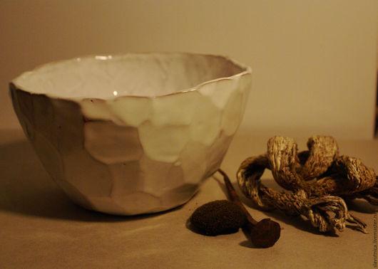 Салатники ручной работы. Ярмарка Мастеров - ручная работа. Купить Салатник белый с гранями из глины. Handmade. Белый, миска, глина