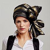 Аксессуары handmade. Livemaster - original item Turban-transformer of black\blue cotton with gold stripes. Handmade.