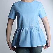 Одежда handmade. Livemaster - original item Cotton top with Basque Blue Flax. Handmade.