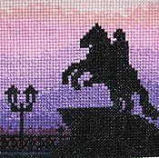 """Картины и панно ручной работы. Ярмарка Мастеров - ручная работа Вышивка крестом """"Медный всадник"""" почти ночь. Handmade."""