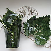 """Для дома и интерьера ручной работы. Ярмарка Мастеров - ручная работа """"Виноградные листья"""" набор для ванной. Handmade."""