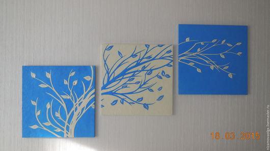 """Картины цветов ручной работы. Ярмарка Мастеров - ручная работа. Купить Модульное объёмное панно """"Ветка с листьями"""". Handmade."""