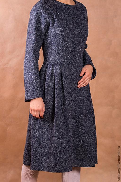 Платья ручной работы. Ярмарка Мастеров - ручная работа. Купить Теплое твидовое платье. Handmade. Тёмно-синий, повседневная одежда