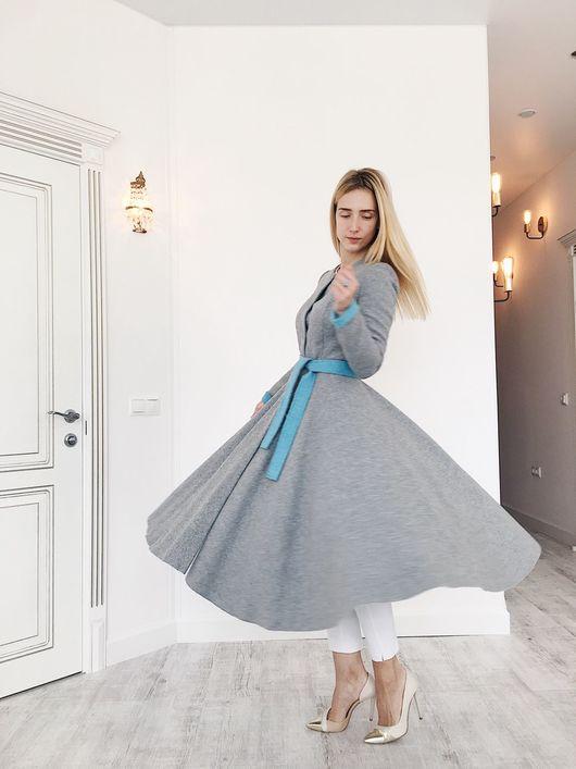Верхняя одежда ручной работы. Ярмарка Мастеров - ручная работа. Купить Пальто серо-голубое из Итальянской шерсти. Handmade. Однотонный
