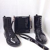 Boots handmade. Livemaster - original item Shoes lacquer with fur and handbag. Handmade.
