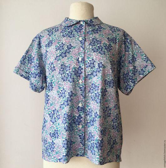 Одежда. Ярмарка Мастеров - ручная работа. Купить Рубашка CACHAREL в синий цветок. Handmade. Синий, цветочный принт