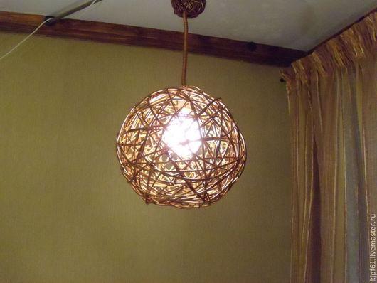 """Освещение ручной работы. Ярмарка Мастеров - ручная работа. Купить Потолочный светильник из лозы """"Шар"""". Handmade. Бежевый, люстра, лоза"""