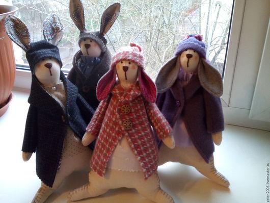 Куклы Тильды ручной работы. Ярмарка Мастеров - ручная работа. Купить зайцы в стиле Тильды. Handmade. Комбинированный