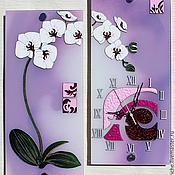 """Для дома и интерьера ручной работы. Ярмарка Мастеров - ручная работа Часы - диптих """"Белая орхидея"""" ( с логотипом). Handmade."""