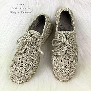 Обувь ручной работы. Ярмарка Мастеров - ручная работа Мокасины льняные со шнурками женские. Handmade.
