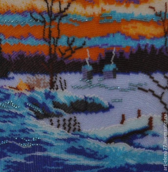 Вышивка картина зимний вечер 35