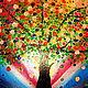 Фантазийные сюжеты ручной работы. Радужное дерево Картина на оргалите. Юлия-Yulitaya. Интернет-магазин Ярмарка Мастеров. Дерево