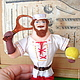 Коллекционные куклы ручной работы. Ярмарка Мастеров - ручная работа. Купить Илья Муромец - сувенир для теннисиста. Handmade. Разноцветный, мини