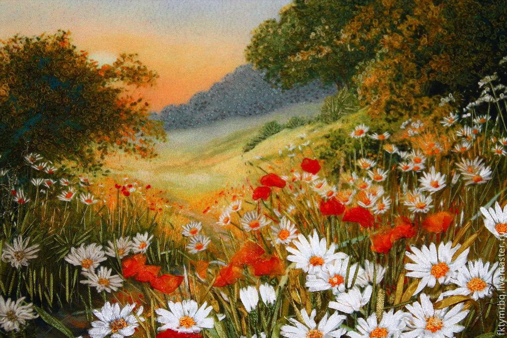 Картина  Ромашковый рай. Вышивка лентами, Пейзаж, Ульяновск, Фото №1