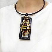 Украшения handmade. Livemaster - original item The Bee pendant (polymer clay and glass). Handmade.