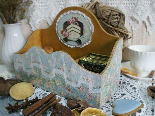 """Кухня ручной работы. Ярмарка Мастеров - ручная работа. Купить Чайный короб """"Нежное кружево"""". Handmade. Бирюзовый, короб для чая"""