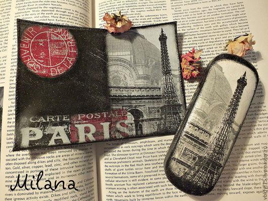 обложка для паспорта, обложка на паспорт, обложка декупаж, очешник, очечник, очешник декупаж, обложка и очешник комплект, очешник ручной работы, париж, Франция, обложка с парижем, подарок любителю фра