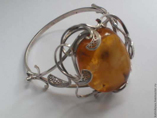 """Браслеты ручной работы. Ярмарка Мастеров - ручная работа. Купить Браслет """"Фантазия"""" из серебра. Handmade. Оранжевый, подарок для любимой"""