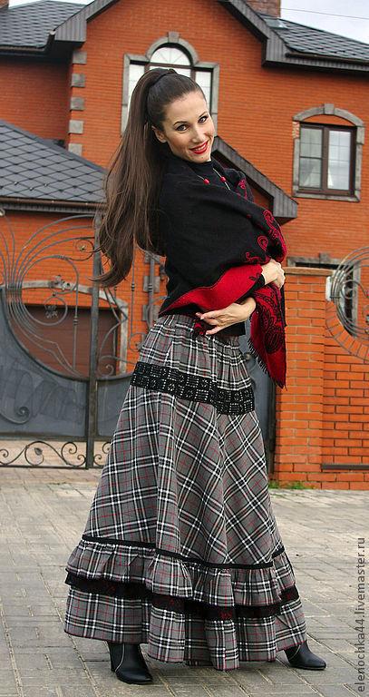 """Юбки ручной работы. Ярмарка Мастеров - ручная работа. Купить Длинная юбка """"Венский вальс"""". Handmade. Темно-серый"""