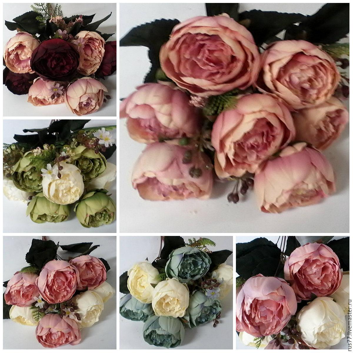 Букет винтажных пионов с мелкоцветами, Цветы, Москва, Фото №1