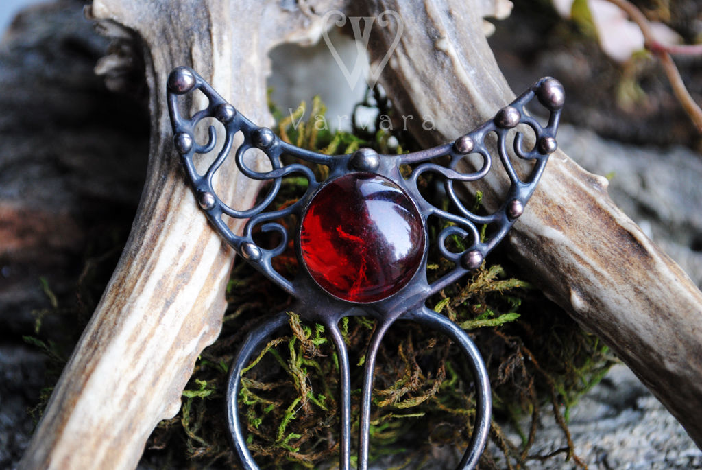 The moon hair pin with a magical glass red stone, Hairpins, Baku,  Фото №1