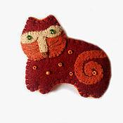 Украшения ручной работы. Ярмарка Мастеров - ручная работа Брошь из фетра кошка. Handmade.