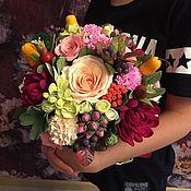 Цветы и флористика ручной работы. Ярмарка Мастеров - ручная работа Букет в шляпной коробке.. Handmade.